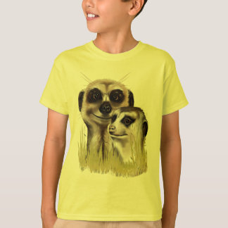 Two Meerkats in grass Shirts