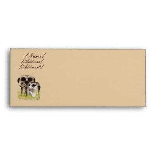 Two Meerkats in grass Trans, [Name], [Address],... Envelope