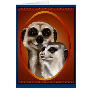 Two Meerkats Oval Cards