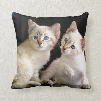 Two Mekong Bobtail Tabby Point Kittens Throw Pillow