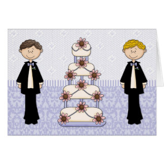 Two Men and A Wedding Cake Card