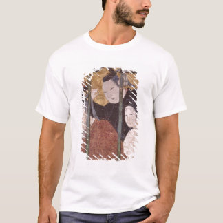 Two men and woman behind awning, detail screen T-Shirt