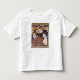 Two men and woman behind awning, detail screen toddler t-shirt