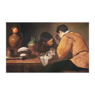 Two Men at Table, c.1620-21 Canvas Print