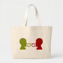 Two Men Breathing Icon Large Tote Bag