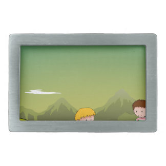 Two men camping out on the mountain rectangular belt buckle