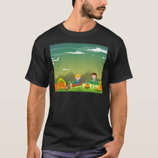 Two men camping out on the mountain T-Shirt
