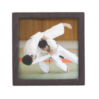 Two Men Competing in a Judo Match 2 Jewelry Box