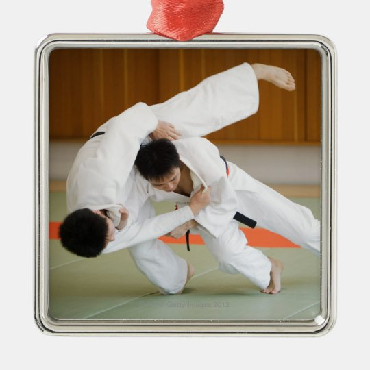 Two Men Competing in a Judo Match 2 Metal Ornament