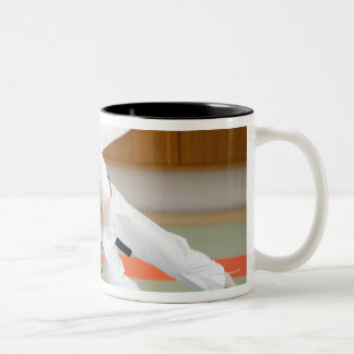 Two Men Competing in a Judo Match 2 Mugs