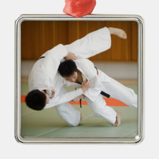 Two Men Competing in a Judo Match 2 Christmas Tree Ornaments