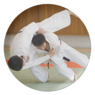 Two Men Competing in a Judo Match 2 Plate