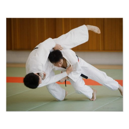 Two Men Competing in a Judo Match 2 Posters