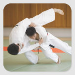 Two Men Competing in a Judo Match 2 Square Sticker
