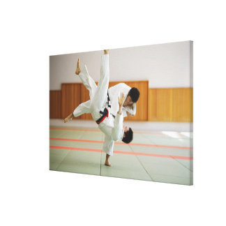 Two Men Competing in a Judo Match 3 Canvas Print