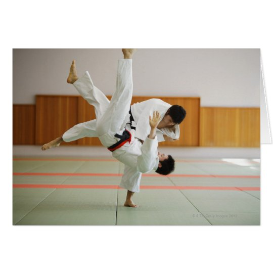 Two Men Competing in a Judo Match 3 Card