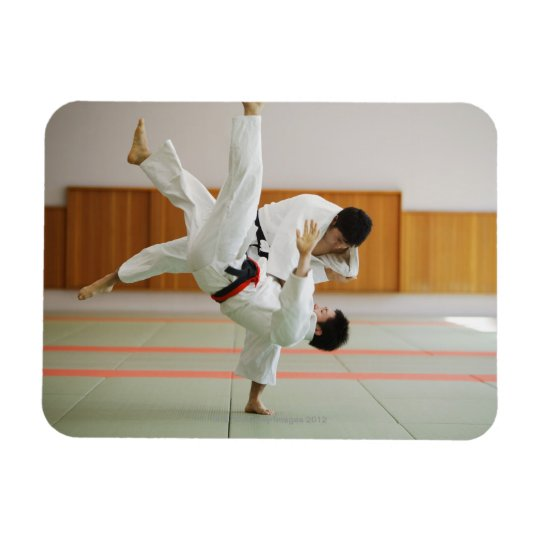 Two Men Competing in a Judo Match 3 Rectangular Photo Magnet