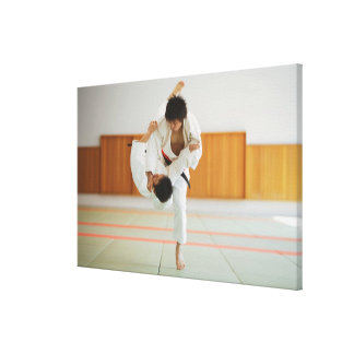 Two Men Competing in a Judo Match Canvas Print