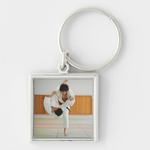 Two Men Competing in a Judo Match Key Chain