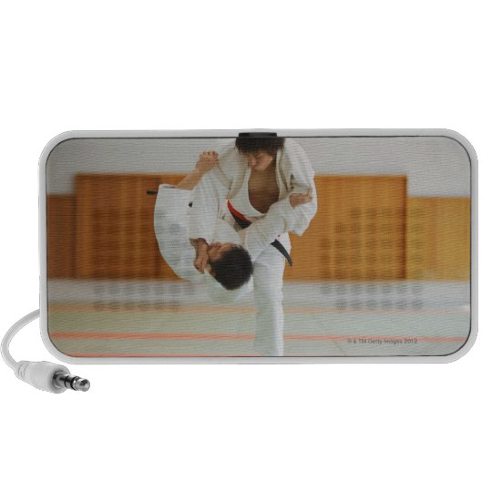 Two Men Competing in a Judo Match Portable Speaker