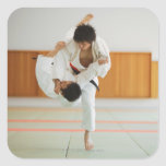 Two Men Competing in a Judo Match Square Sticker