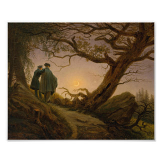 Two Men Contemplating the Moon Photo Print