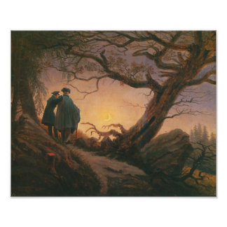 Two Men Contemplating the Moon Print