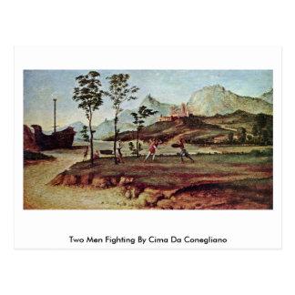 Two Men Fighting By Cima Da Conegliano Postcard