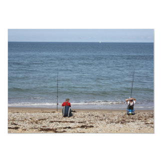 Two Men Fishing at the beach Invitation