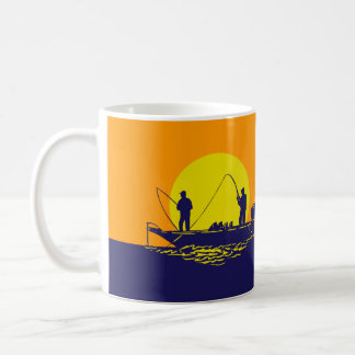 Two men fishing in a boat against a yellow sunset, coffee mug