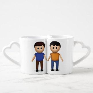 Two Men Holding Hands Emoji Coffee Mug Set