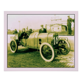 Two men in antique racing car n° 16 Indy 500 Poster