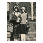 Two men in drag out on the town post card