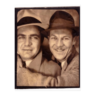 Two Men In Photo Booth 1933 Postcard