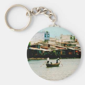 Two men on a boat - Saigon River. Keychain
