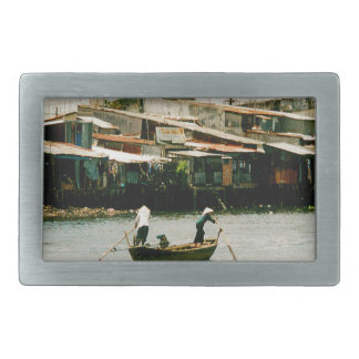 Two men on a boat - Saigon River. Rectangular Belt Buckle