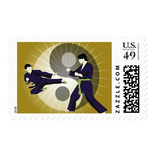 Two men performing martial arts in front of a stamps