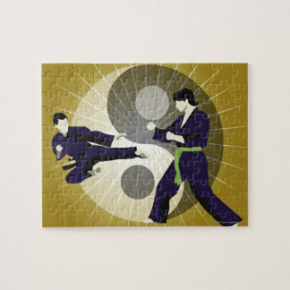Two men performing martial arts in front of a puzzles