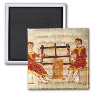 Two Men Sawing Wood, from 'De Universo' Magnet