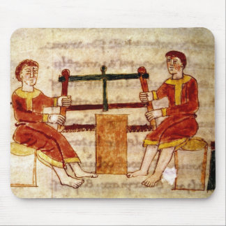 Two Men Sawing Wood, from 'De Universo' Mouse Pad