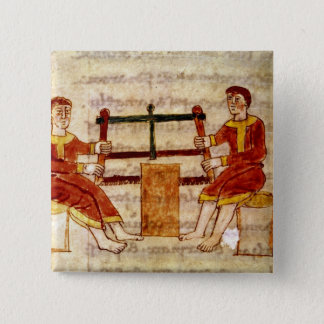 Two Men Sawing Wood, from 'De Universo' Pinback Button