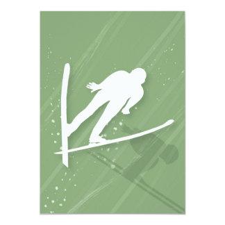 Two Men Ski Jumping Card