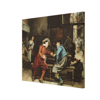 Two Men Talking in a Tavern Gallery Wrap Canvas