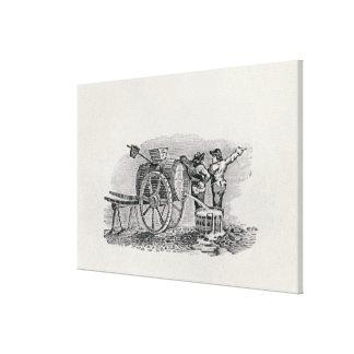 Two Men with a Barrel Cart Canvas Print