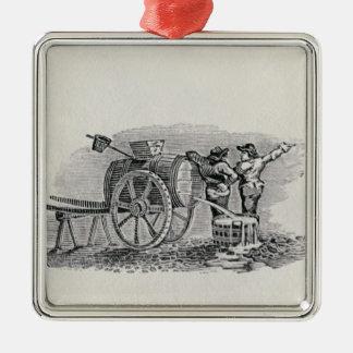 Two Men with a Barrel Cart Metal Ornament