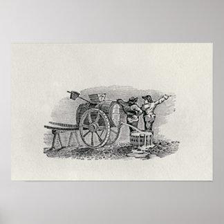 Two Men with a Barrel Cart Print