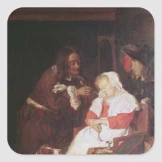Two Men with a Sleeping Woman, c.1655-60 Square Sticker