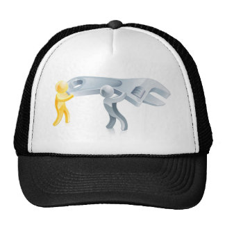 Two men with spanner trucker hat