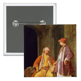 Two Merchants Conversing 2 Inch Square Button