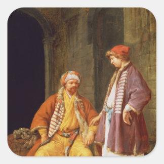 Two Merchants Conversing Square Sticker